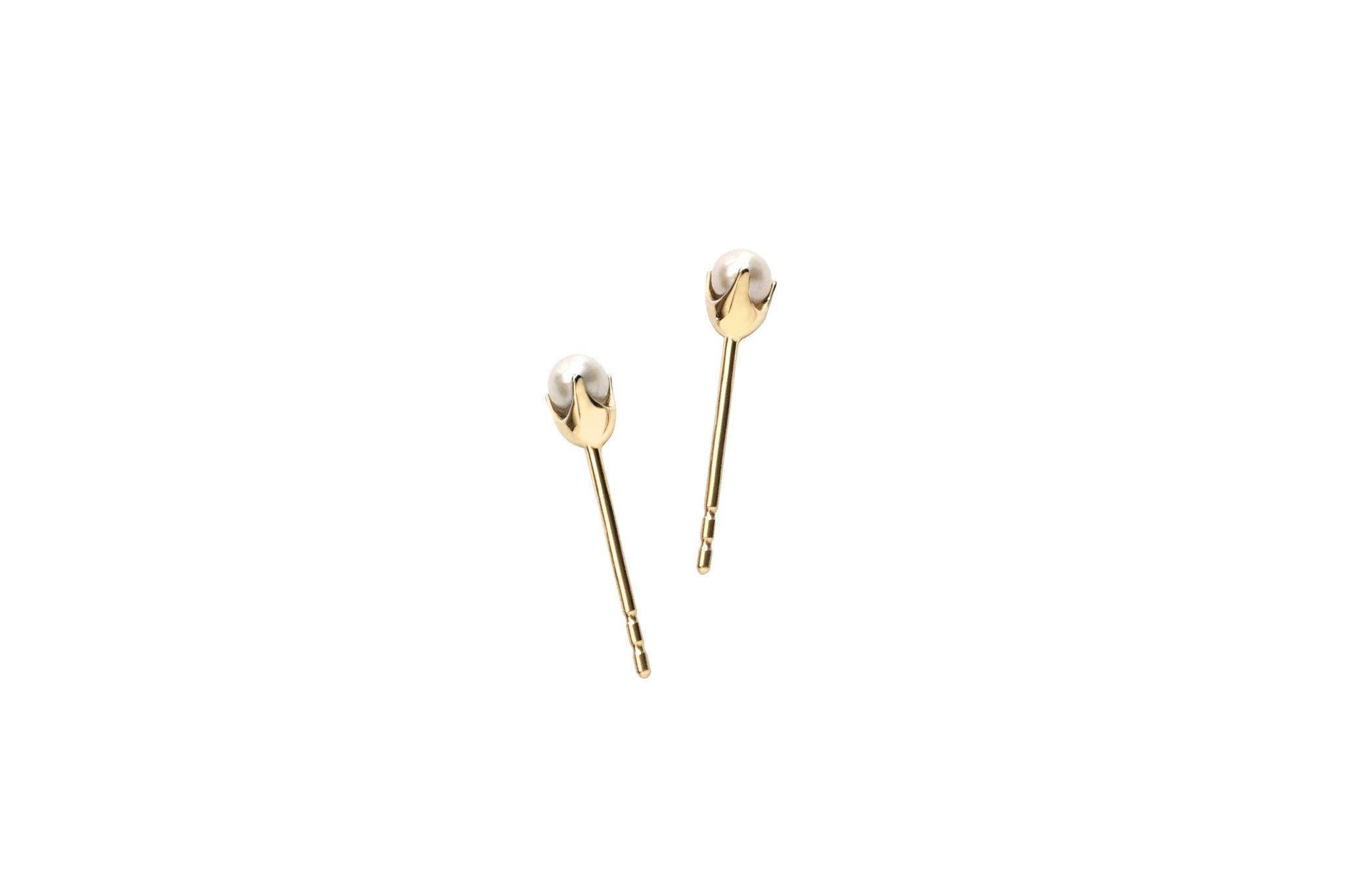 14k Gold Small Pearl Stud Earrings E2333