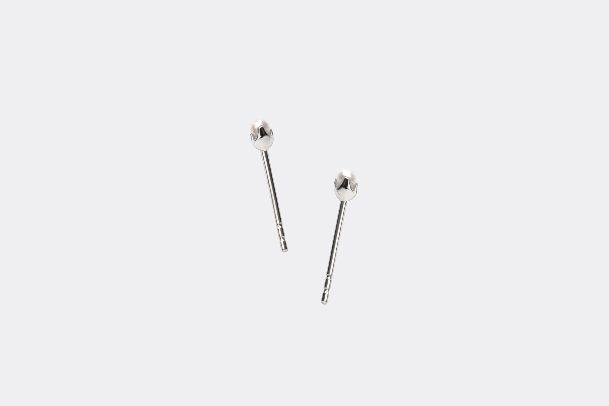 14k White Gold Micro Tiny Pearl Stud Earrings E2334