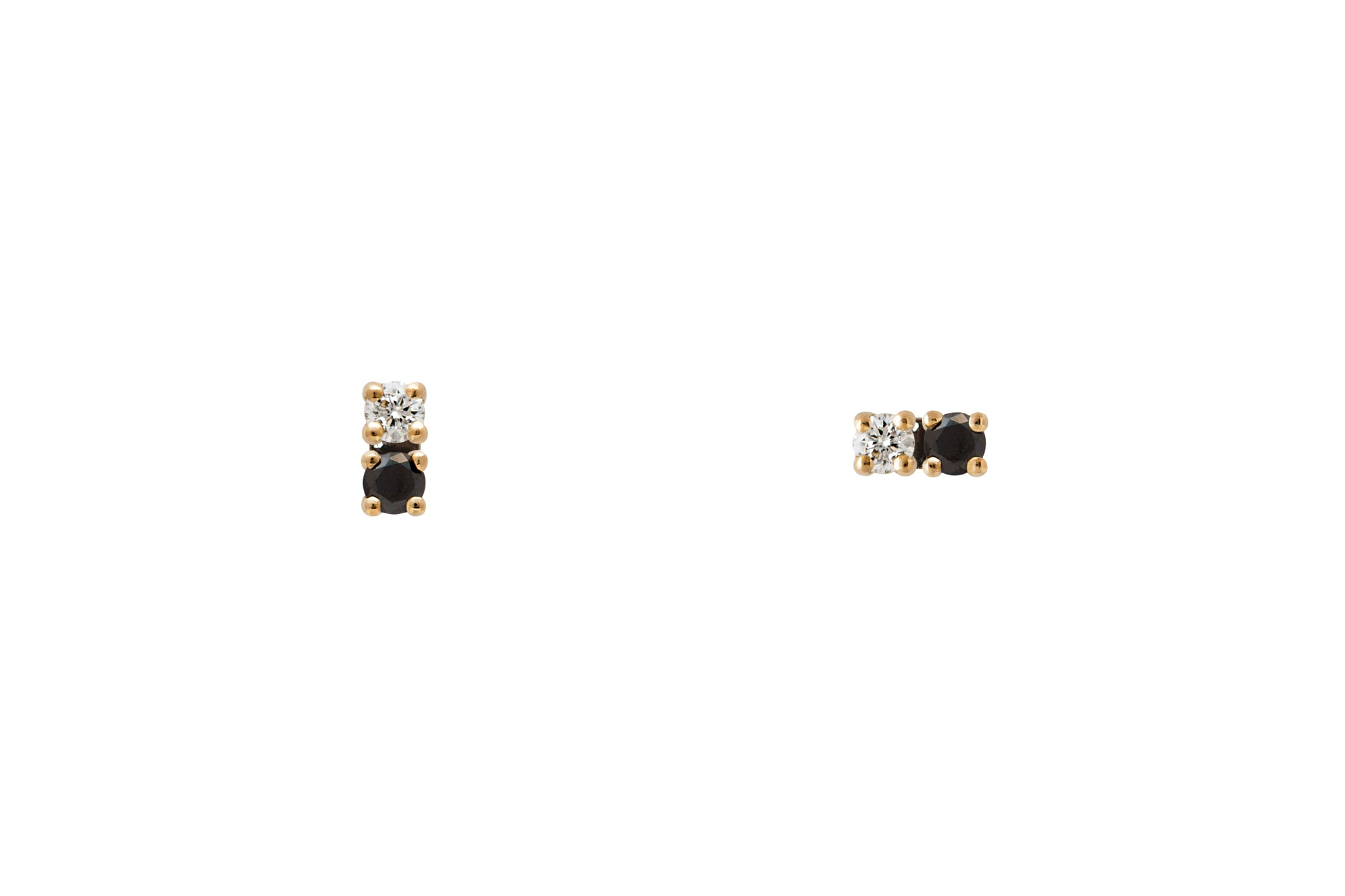 Black and White Duo Diamond Stud Earrings