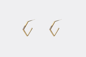 Square Hoop Stud Diamond Earrings