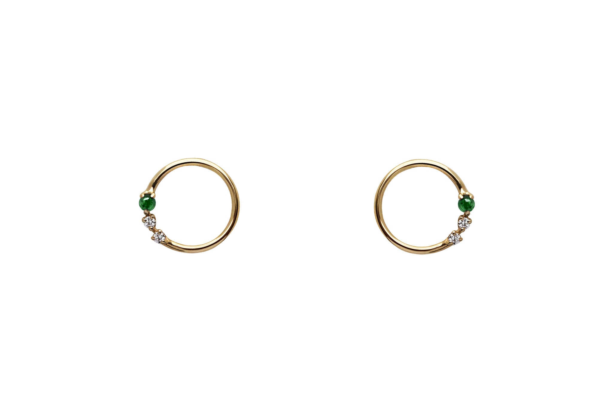 Emerald and Diamond Open Circle Earrings