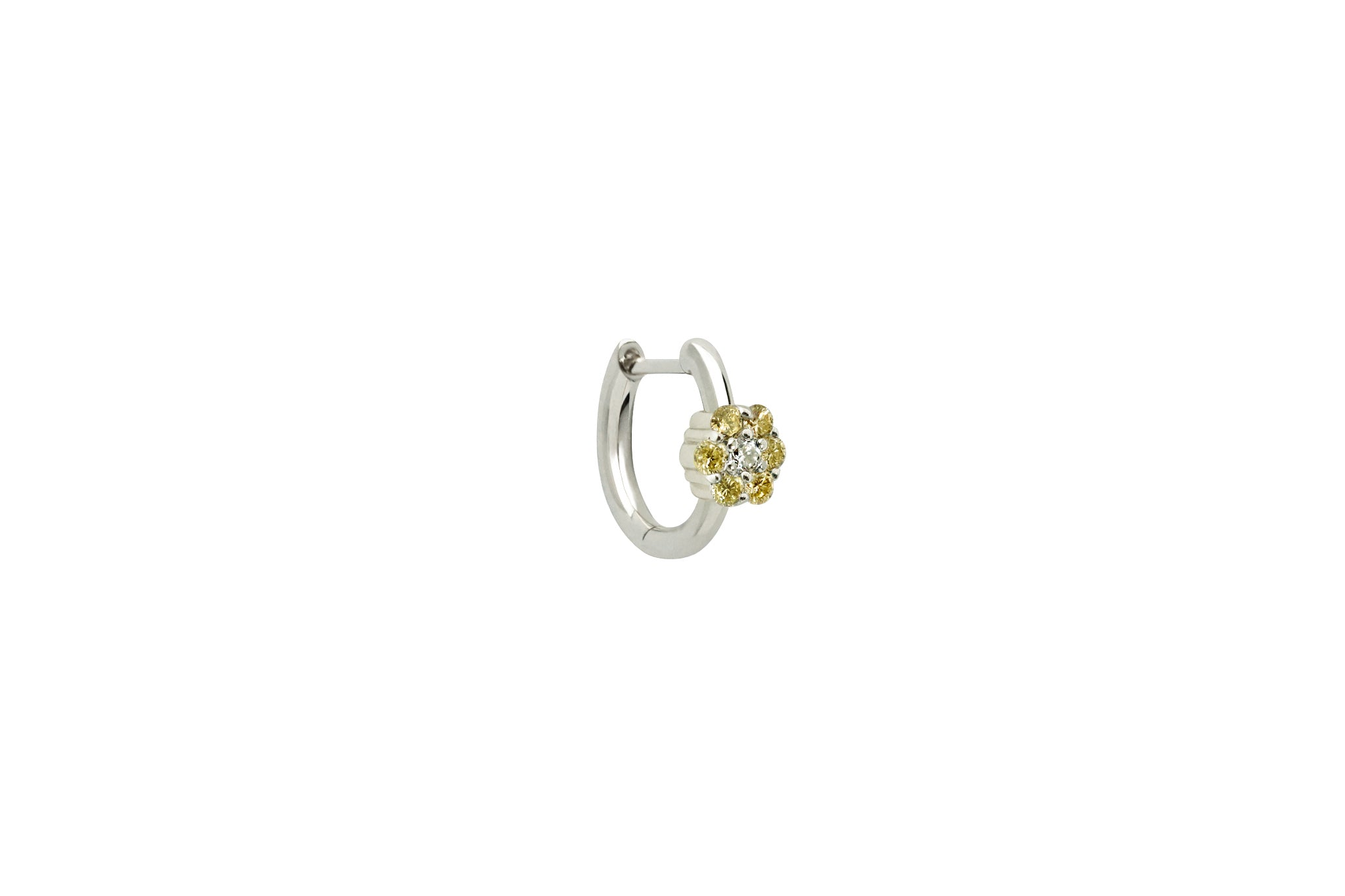 Fancy Yellow Diamond Floral Hoop Earrings