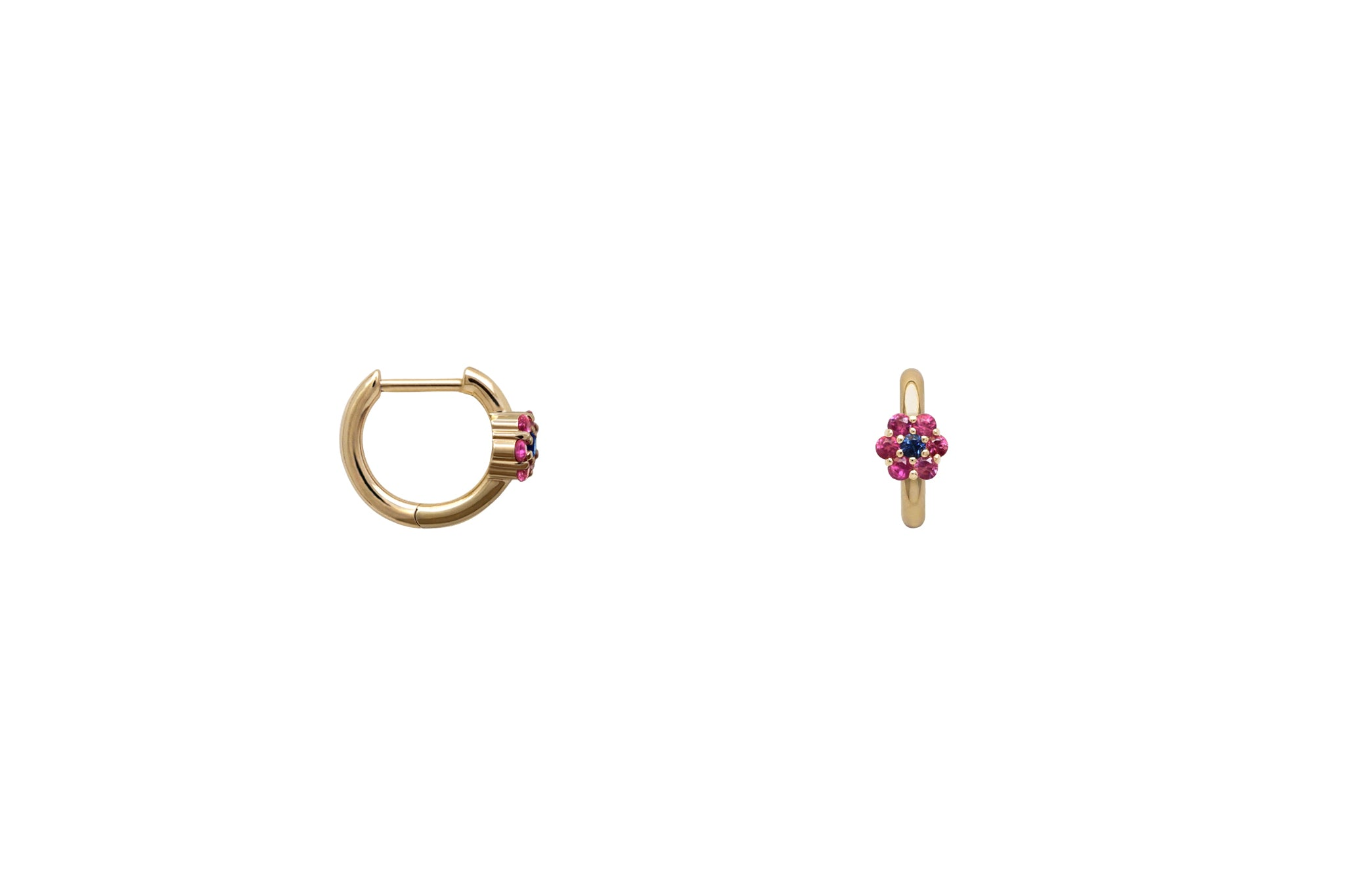 Pink Sapphire Floral Ear Hugging Hoop Earrings