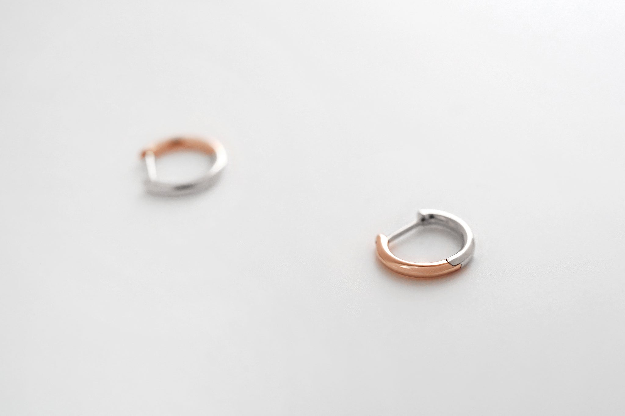Two Tone Small Hoop Earrings - White/Rose Gold