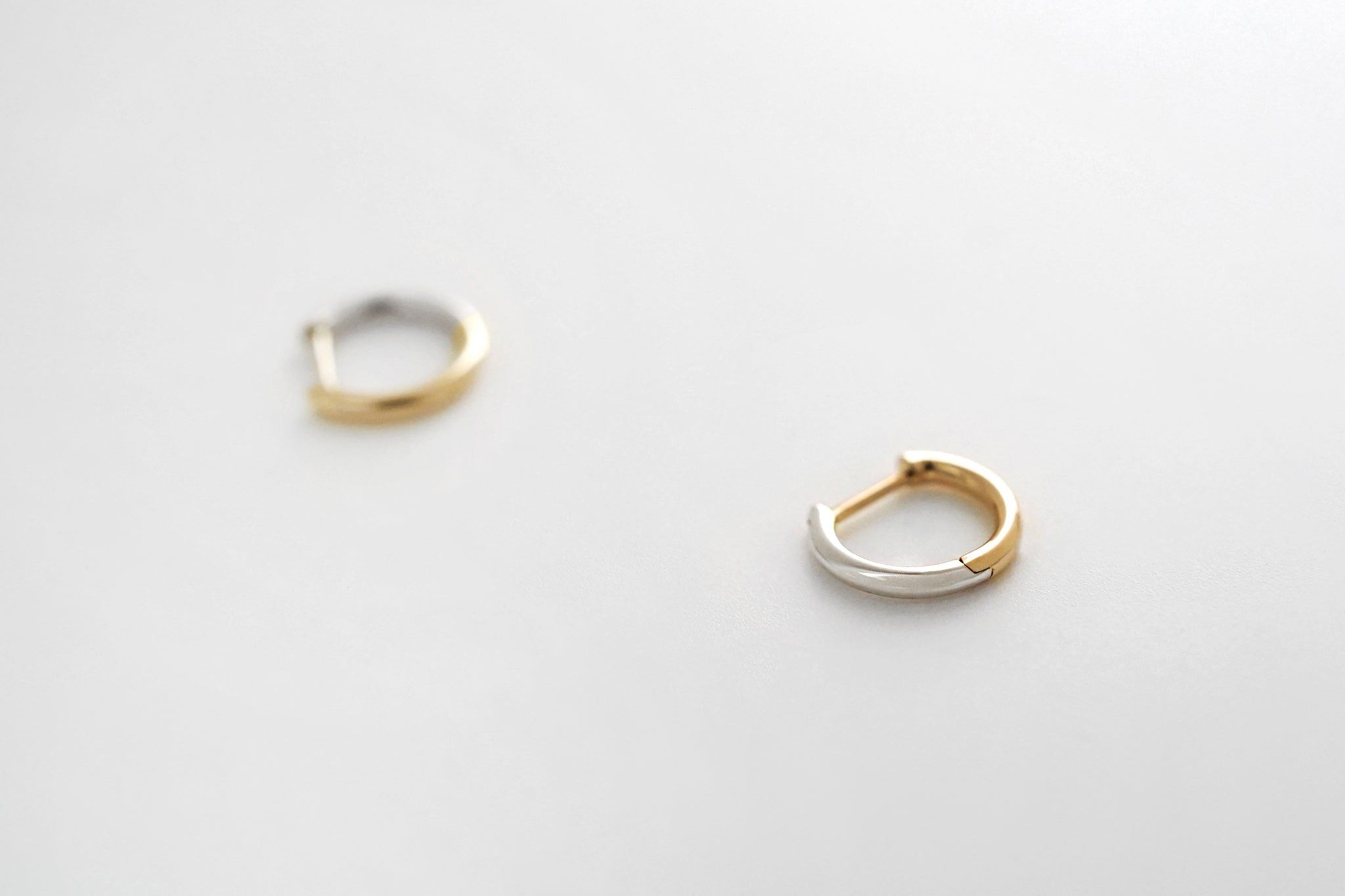 Two Tone Small Hoop Earrings - Yellow/White Gold