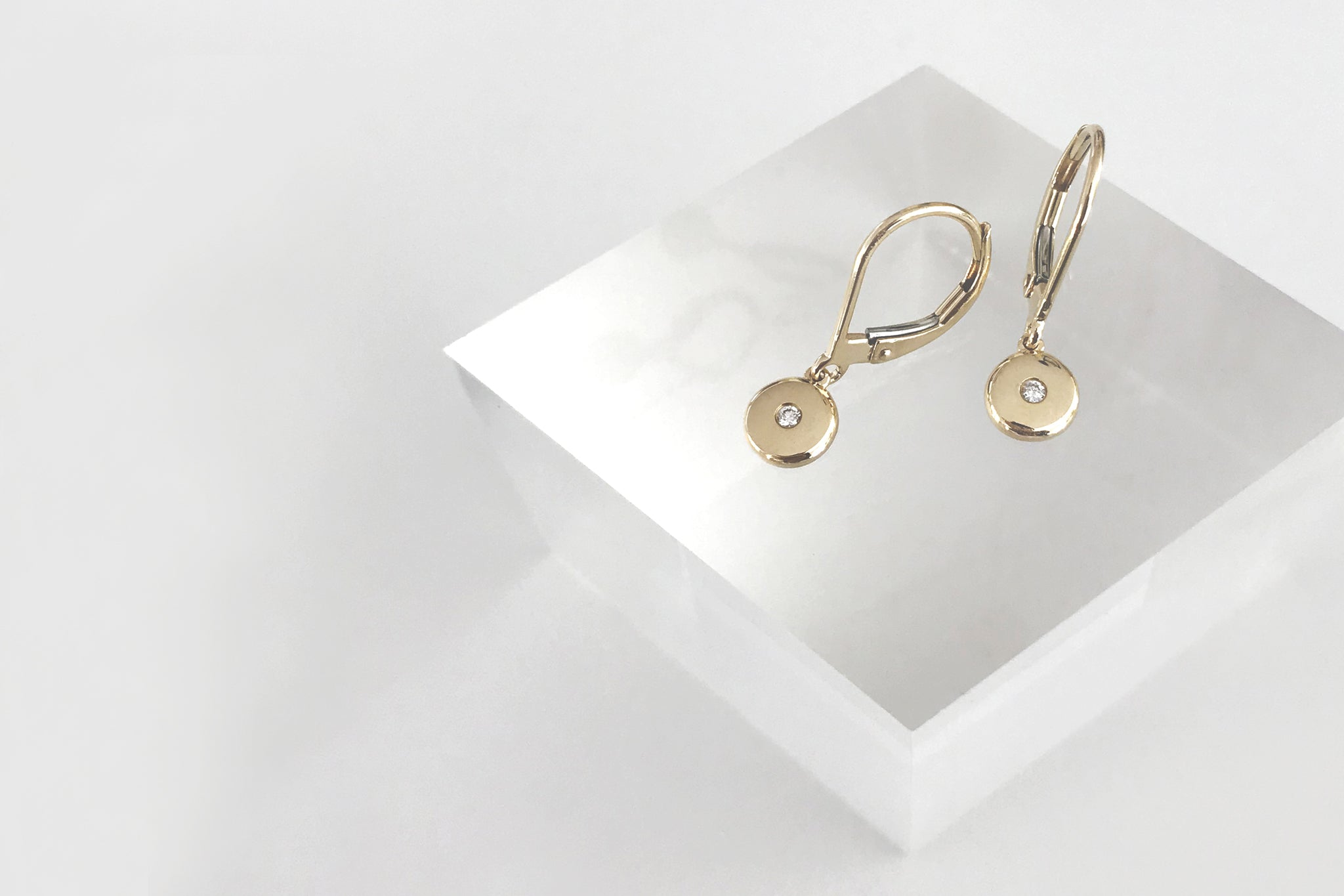 Diamond Gold Disk Dangle Earrings