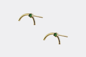 14k Gold Arc Emerald Earrings