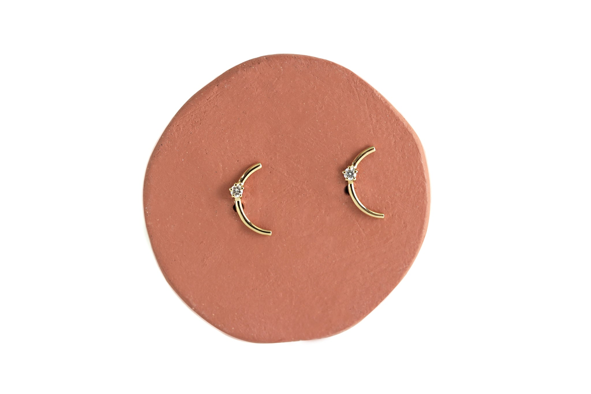Mini Gold Arc Diamond Earrings