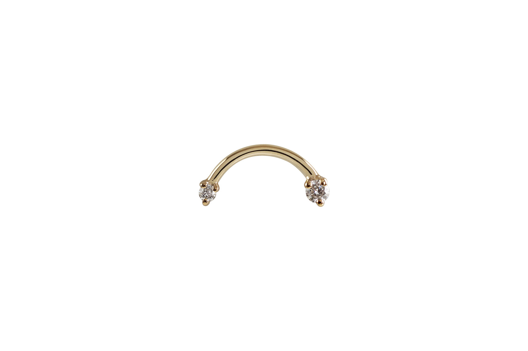 14k Gold Arc Double Diamond Earrings