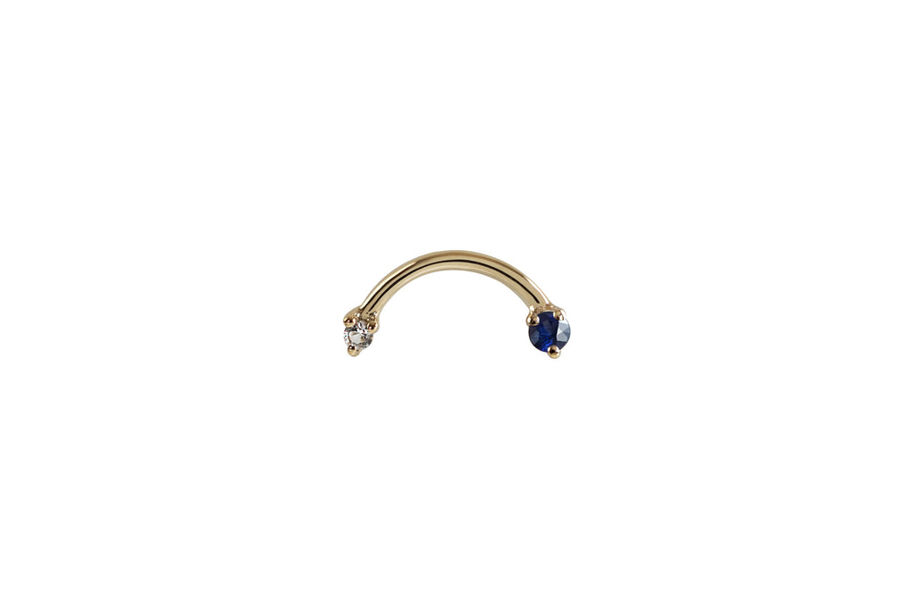 14k Gold Arc Double Sapphire Earrings