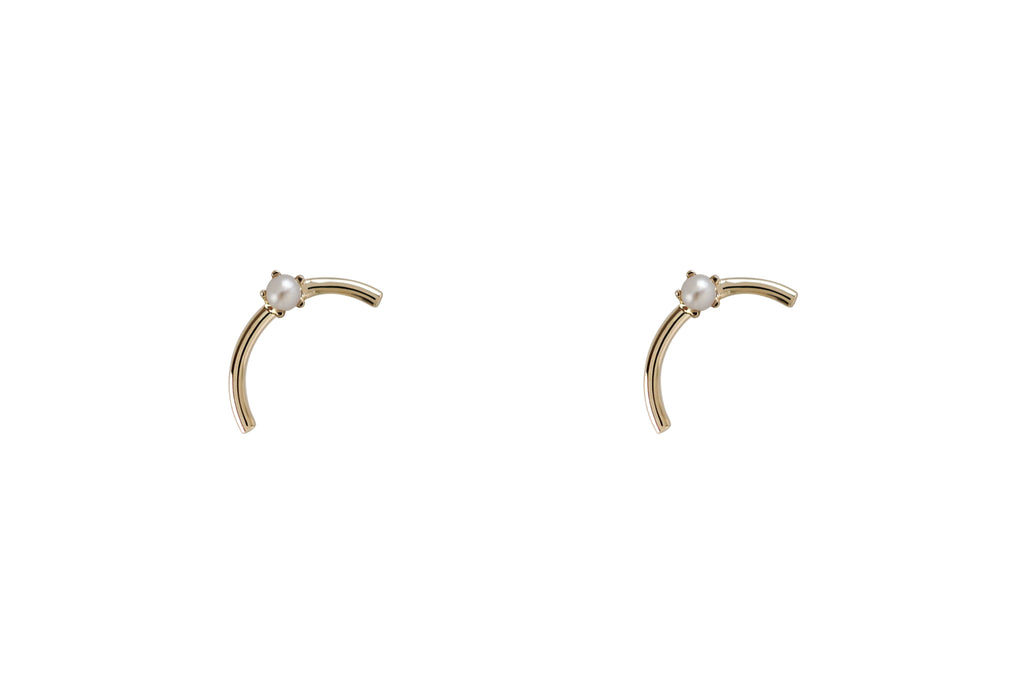 Mini Gold Arc Pearl Earrings