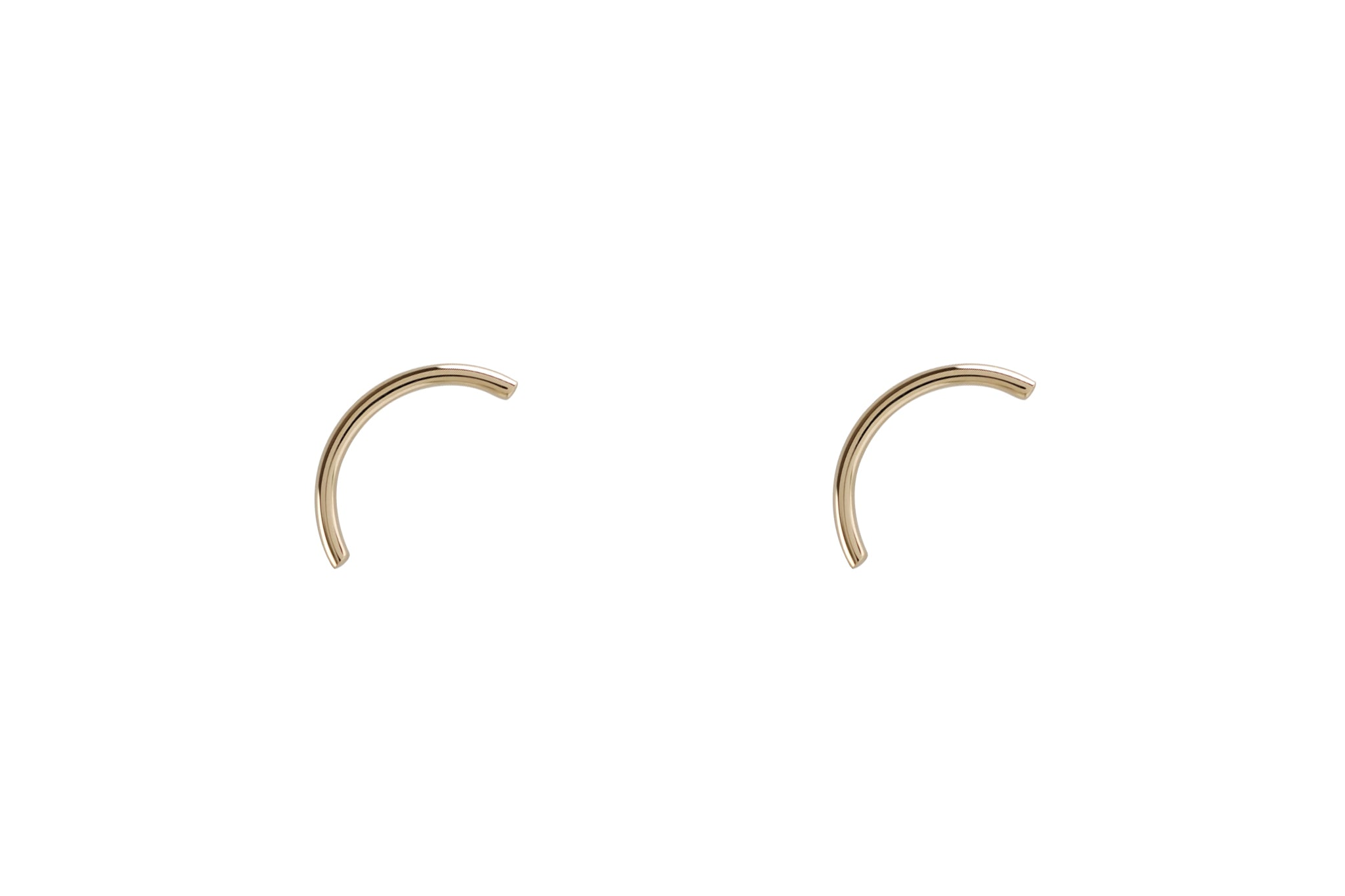 14k Gold Arc Stud Earrings