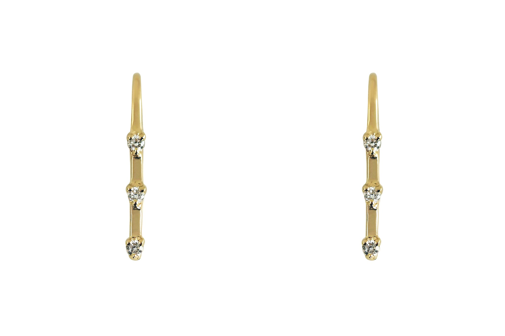 Three Stone Diamond Ear Climber Earrings