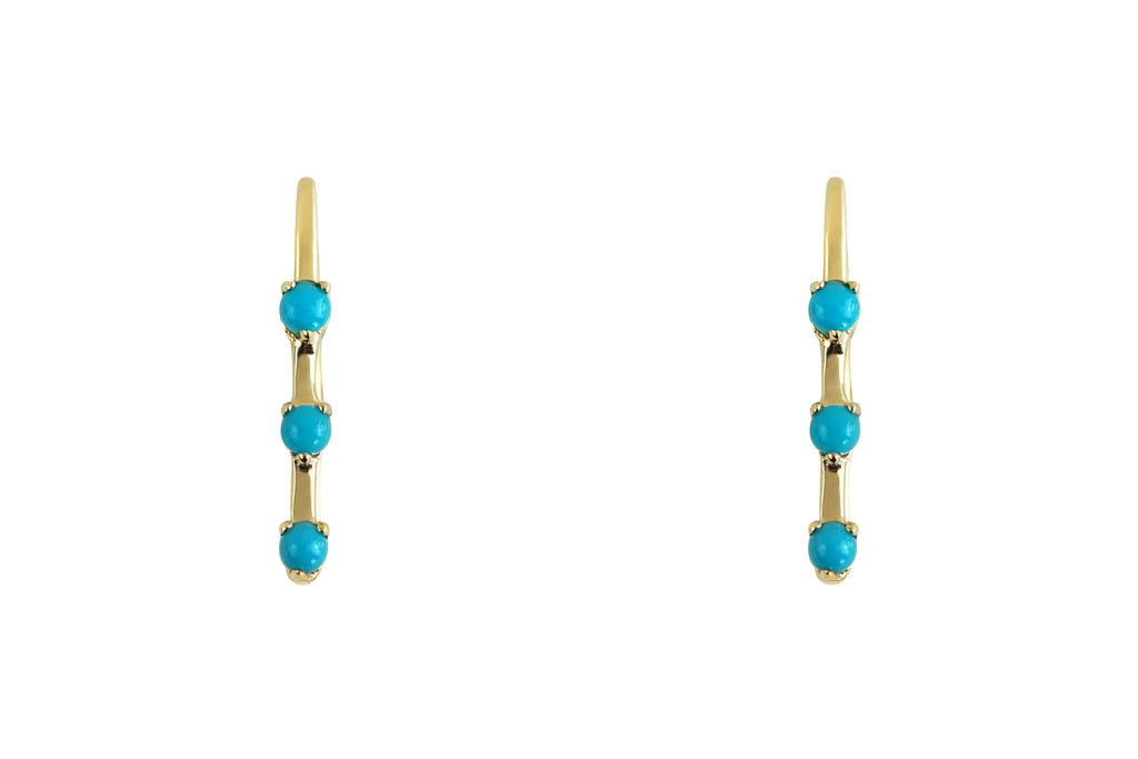 Three Turquoise Ear Climber Earrings