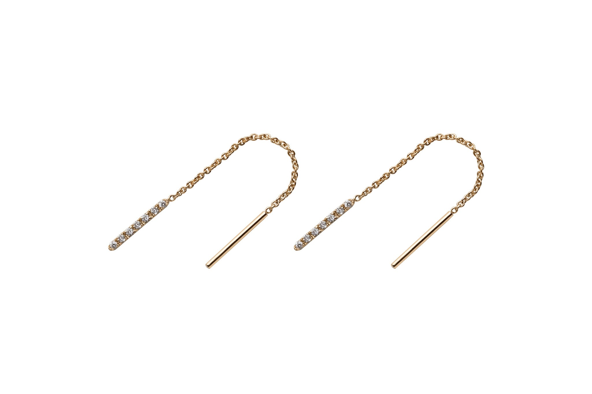 14k gold ear threads Diamond Earrings E2314