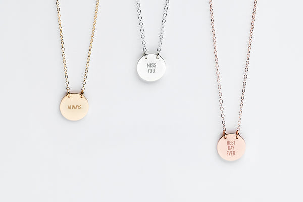 Signature Custom Message Charm Necklace - 1/2in.