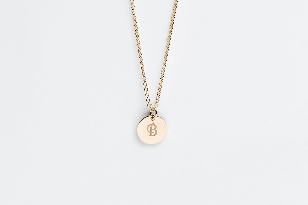 Gold Disc Personalized Initial Charm Necklace