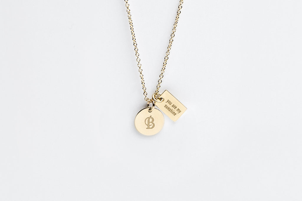 Tiny Double Gold Charm Personalized Necklace