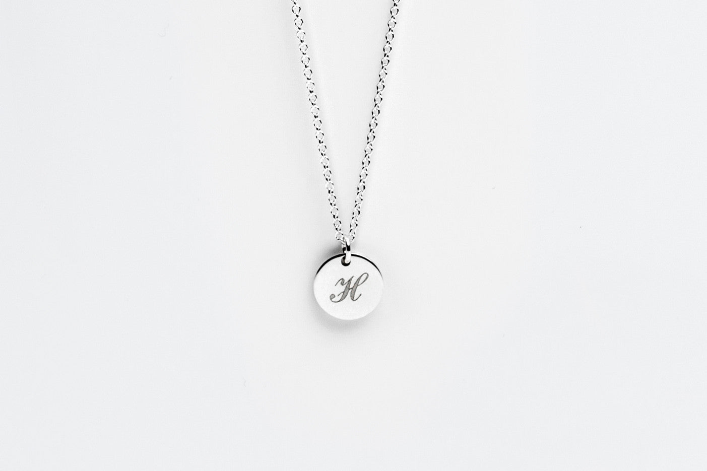 Sterling Silver Engraved Initial Charm Necklace