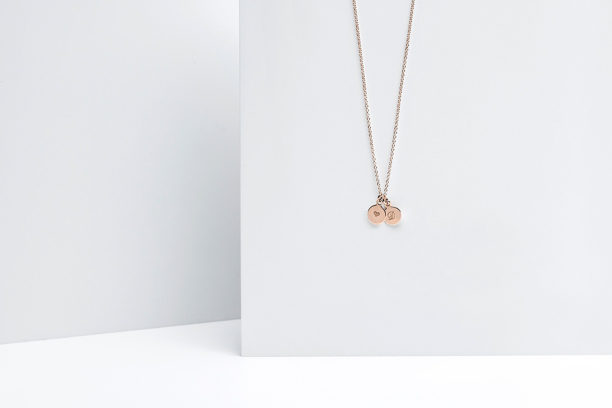Tiny Double Rose Gold Initial Charm Necklace