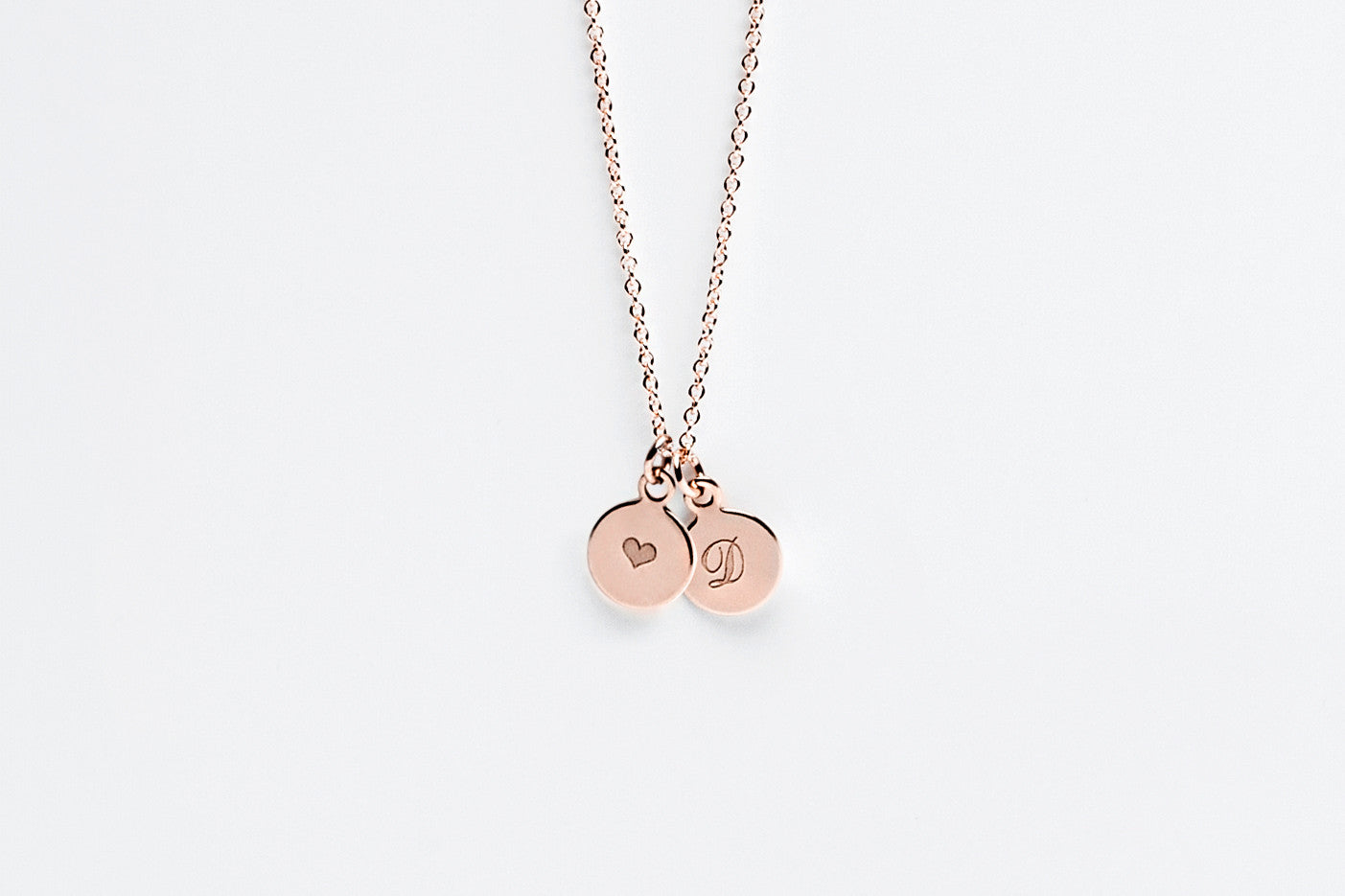 Tiny Double Disc Initial Charm Necklace - Rose Gold