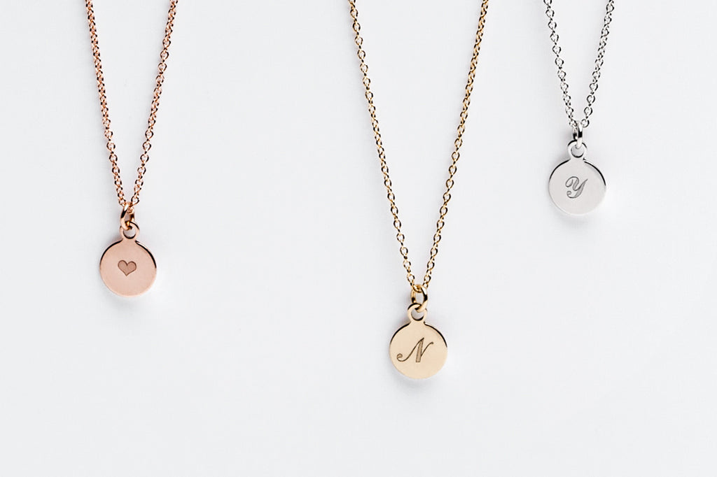 Tiny Initial Disc Charm Necklace