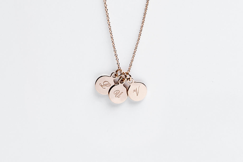 Tiny Three Disc Initial Charm Necklace - Rose Gold