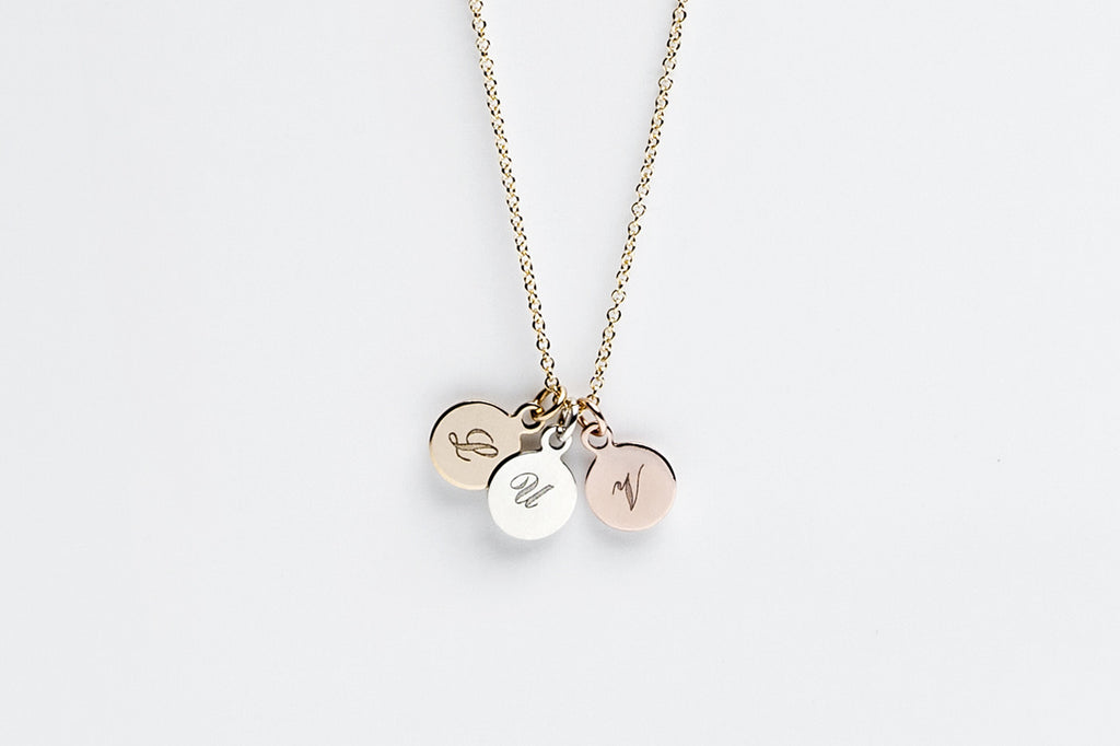 Personalized Tri Colored Initial Charm Necklace