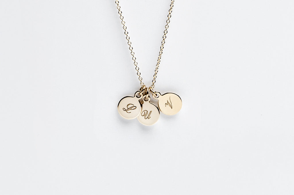 Tiny Three Disc Initial Charm Necklace - Gold