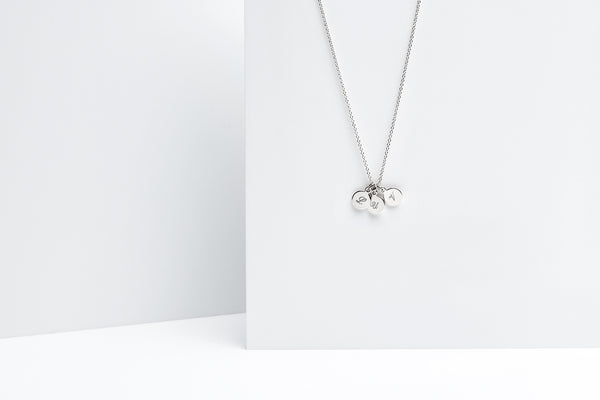 Tiny Three Disc Initial Charm Necklace - Sterling Silver
