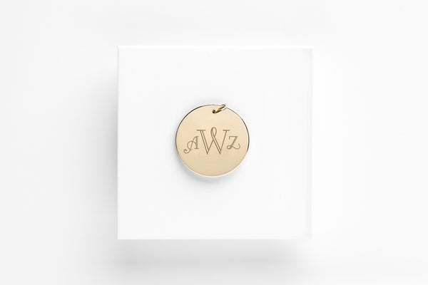 Signature Monogram Gold Charm Pendant - 3/4 in.