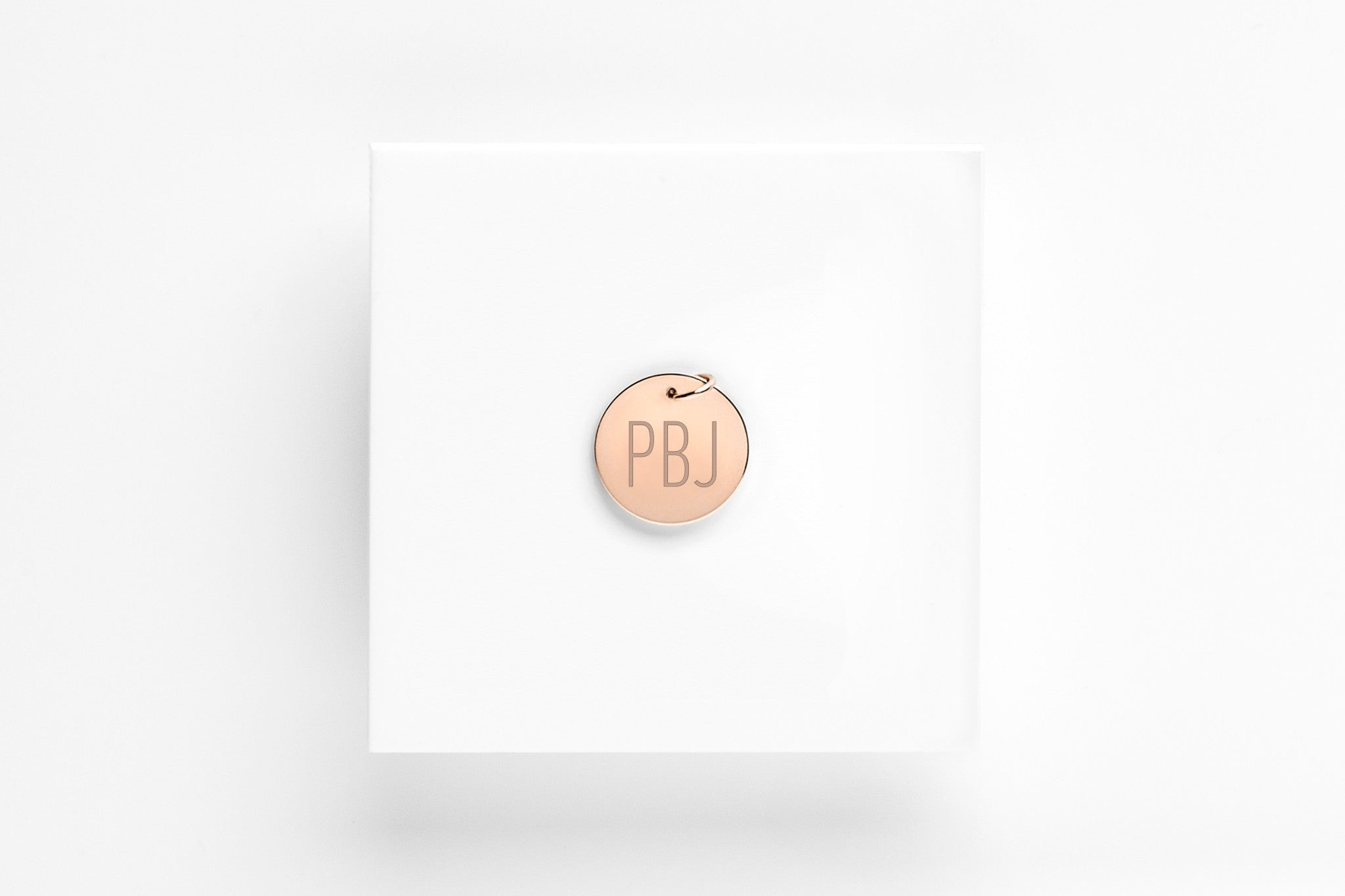 Signature Monogram rose gold Charm Pendant - 1/2 in.