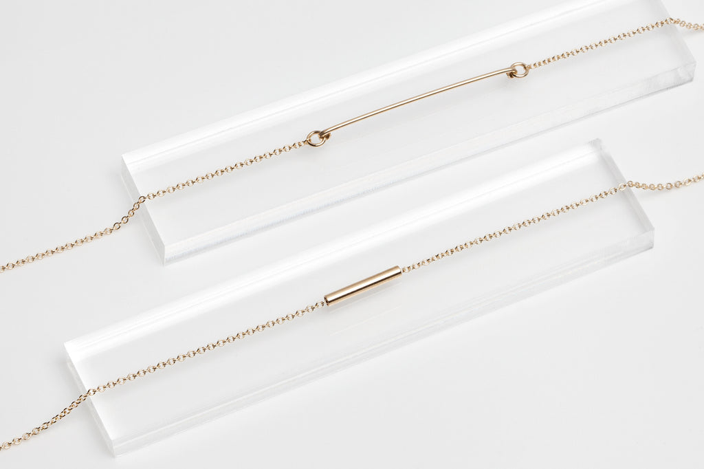 14k Dainty Gold Bar & Gold Tube Bracelet Set