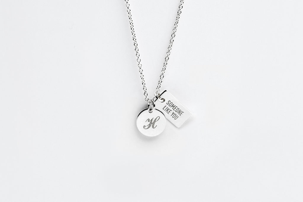 Tiny Double Silver Charm Personalized Necklace