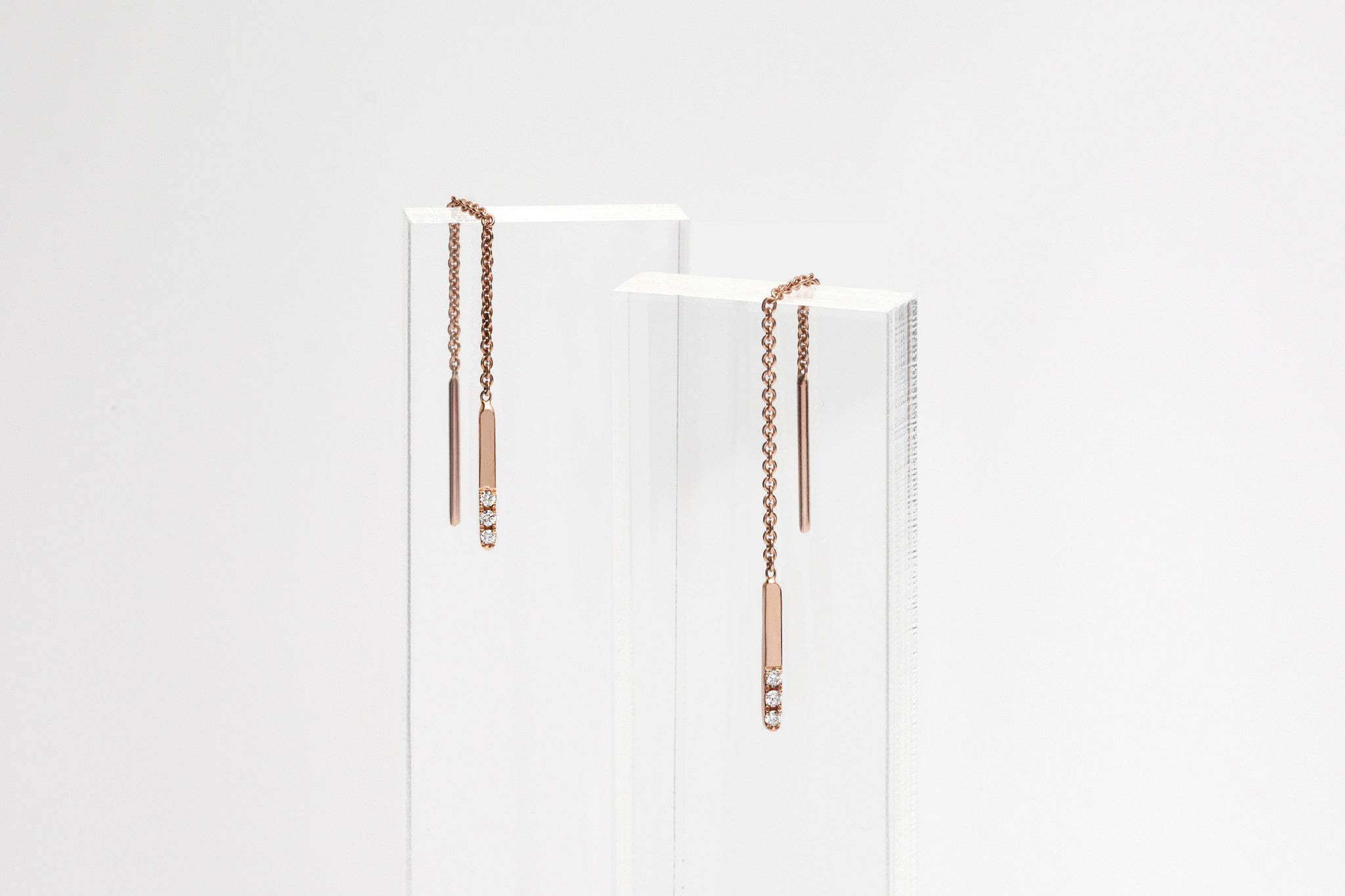 14k Rose Gold Linear Threader Earrings With Three Diamonds E2315