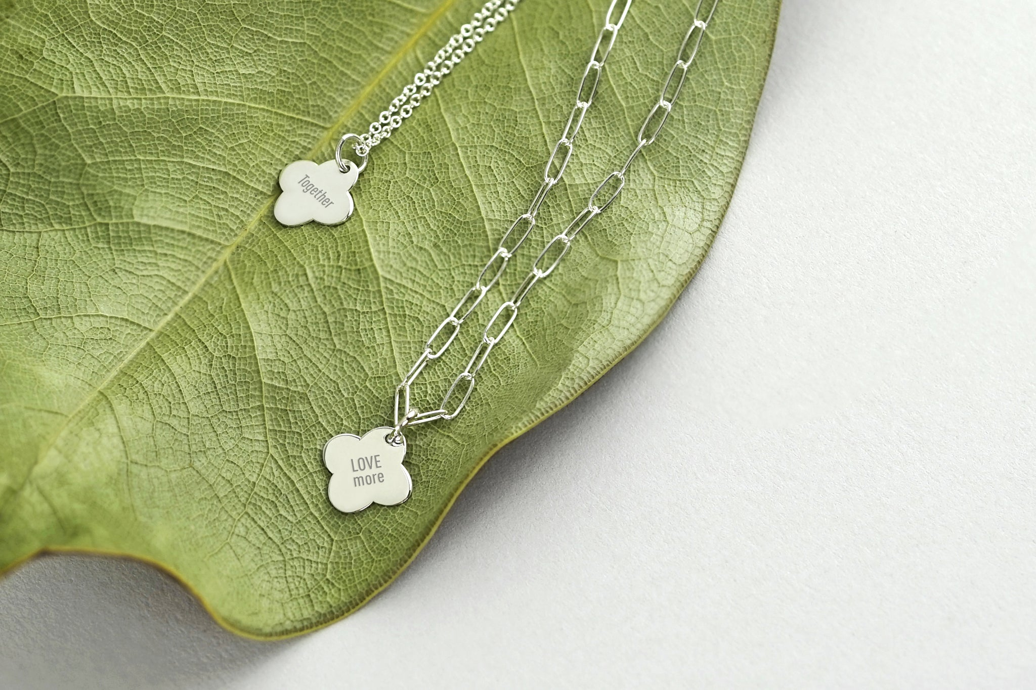 Tiny Silver Clover Message Necklace