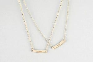 Personalized Mini Gold Bar Necklace