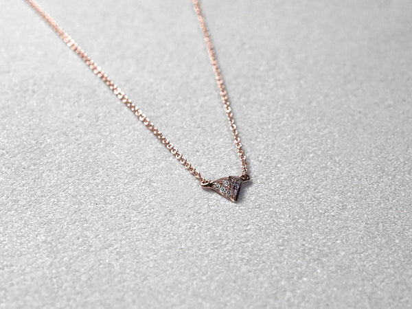LITTIONARY Rose Gold Diamond Necklace, Diamond Pavé Triangular Pyramid