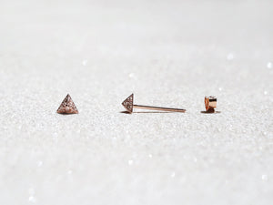 LITTIONARY Rose Gold Triangular Diamond Stud Earrings, Diamond Pavé Pyramid 5mm