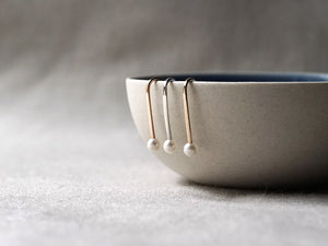Minimalist Tiny Pearl Ear Pin Earrings with a bowl