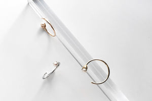 Tiny Pearl Open Hoop Earrings