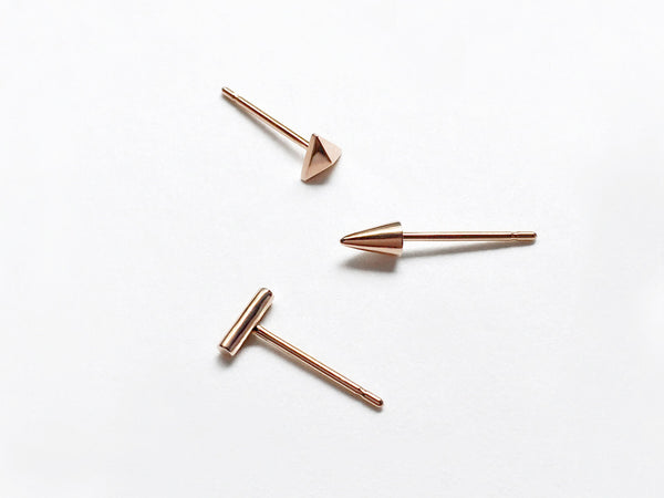14k Rose Gold Geometric Single Earring Trio