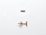 14k Rose Gold Linear Bar Stud Earrings