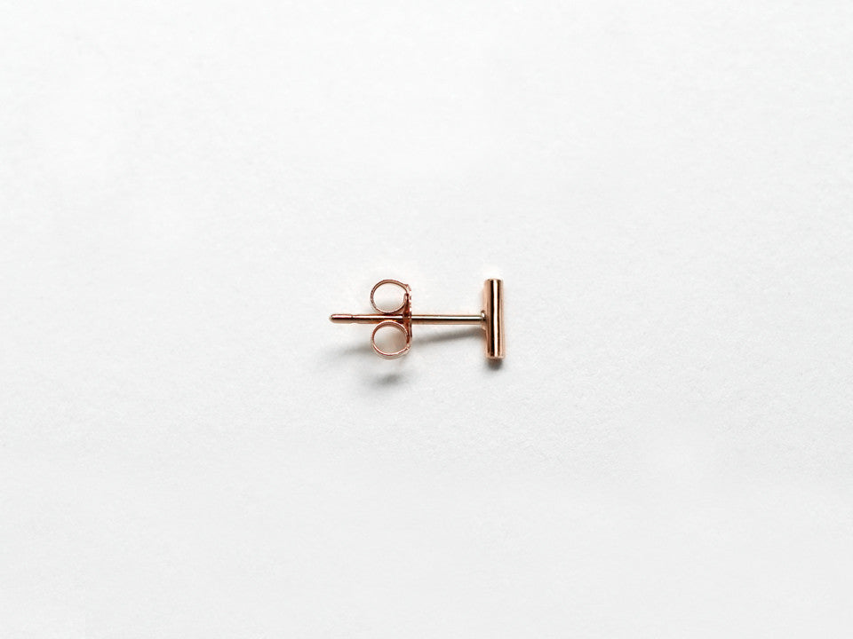 14k Rose Gold Geometric Stud Earrings Trio