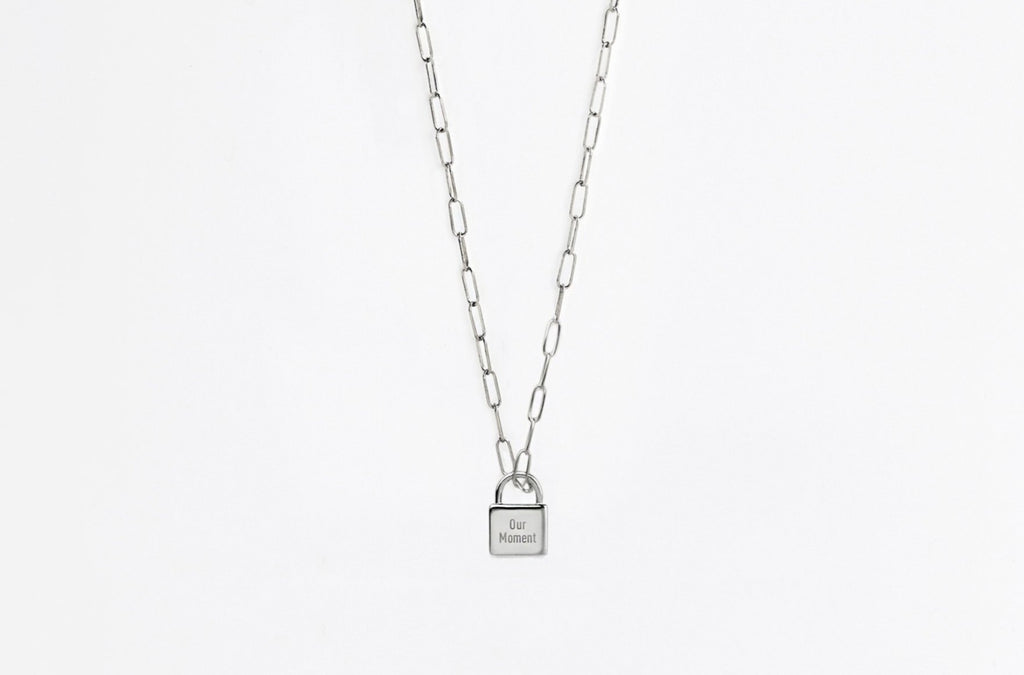 Little Silver Padlock Link Necklace