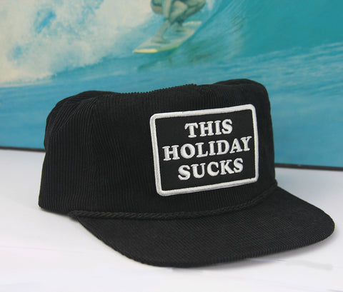 This Holiday Sucks Black Corduroy Cap