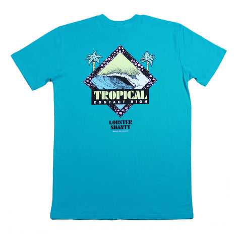 Tropical Contact High Teal Blue Tee