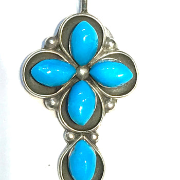 Turquoise cross pendent