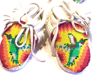 Hand beaded baby moccasins shoes