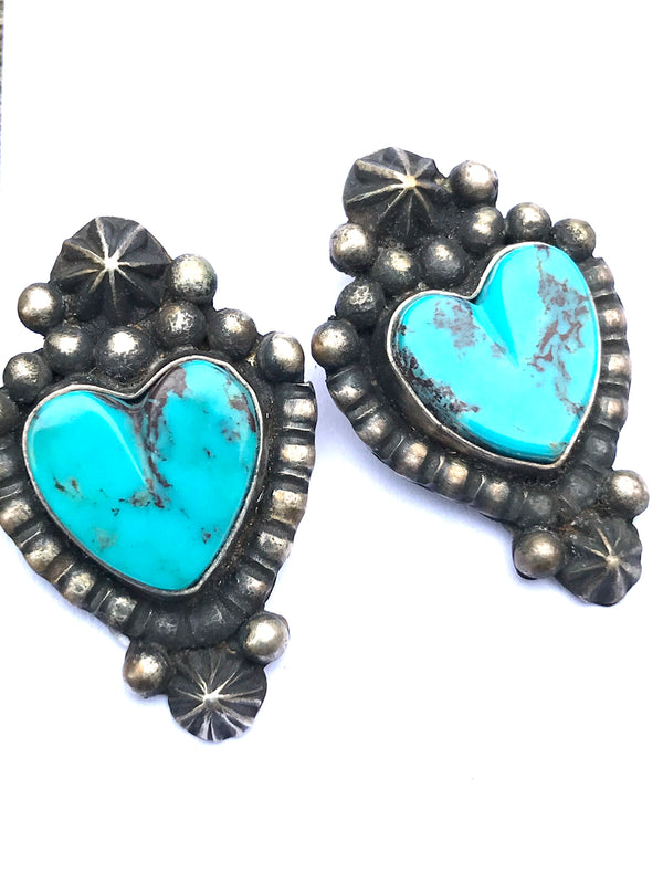 Heart Earrings with Punchwork